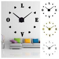 Designer Wanduhr Wohnzimmer Wandtattoo Design Herz Love Deko XXL 3D