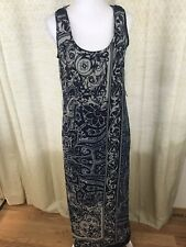Amanda Lane Maxi Overlay Dress Sleeveless Paisley Navy Blue Tank Long Sz 8