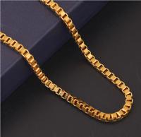 18k Goldkette Venezianerkette vergoldet Panzerkette Herren Halskette 60cm lang