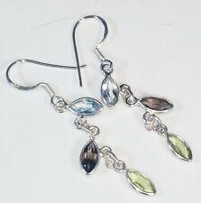"""Natural Topaz, Amethyst, Peridot Sterling Silver Earrings 3gr 1 7/8"""" x 1/4"""" W22"""