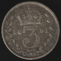 1891 Victoria Silver Threepence Coin | British Coins | Pennies2Pounds