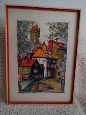 "Ink Drawing  Quebec Artist 17' x 21"" signed Vintage 1972"