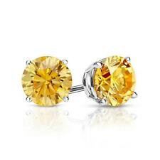 2 Ct Round Yellow Canary Earrings Studs Solid 14K White Gold Screw Back Basket