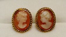 PRETTY 9ct Yellow Gold Oval Carved Carnelian Cameo Stud/Earrings in Gift Box*