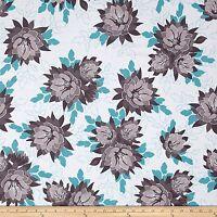 Desert Bloom Floral Cotton Quilt Fabric Aqua Gray  Riley Blake BFab