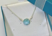 """Larimar Genuine Dominican Gem 12mm 6ct Classic 925 Sterling Silver Necklace 18"""""""