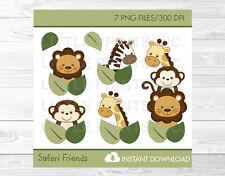 Safari Jungle Animals Lion Giraffe Zebra Monkey Clipart