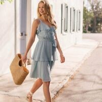 GAL MEETS GLAM New $188 Blue sleeveless spring eyelet faux wrap ruffles dress 12