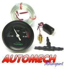Tim 2 Bar Turbo Boost Gauge KIT, inc Pipe & Fittings , Black Face 52mm (700026)