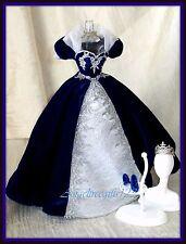 Beautiful velvet dark blue dress for model muse silkstone gown royalty Barbie