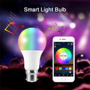 B22 Smart  RGB Bulb LED Bluetooth Light Lamp For Amazon Alexa APP Remote Control