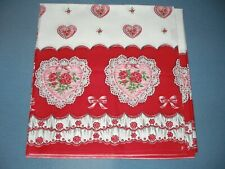 """Unused 1940's Vintage Cotton Valentine's Day Yardage, 135"""" x 36"""", For Tablecloth"""
