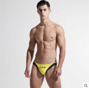 Desmiit Men Drawstring Swimwear Trunks Low Rise Sexy Beach Summer Bikini Briefs