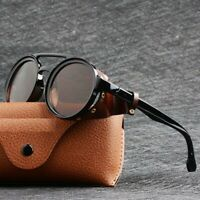 Men Steampunk Goggles Retro Shades Fashion Leather Side Shields Style Sunglasses