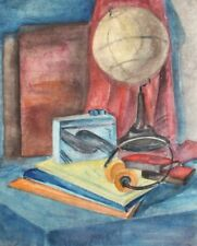 Impressionist watercolor painting still life with globe, walkman and books