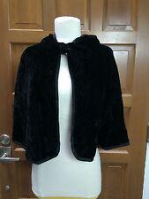 Vtg VERA (Neumann) Black Rayon Velvet Hooded Cape Bow Tie Front