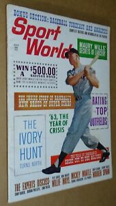 July 1963 Sport World magazine MICKEY MANTLE nice condition