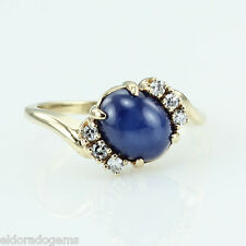 3.50 CT BLUE STAR SAPPHIRE & 0.30 CT DIAMOND COCKTAIL RING 18K YELLOW GOLD US6.5