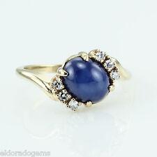 3.50 CT BLUE STAR SAPPHIRE & 0.30 CT DIAMOND COCKTAIL RING 18K YELLOW GOLD US6.5