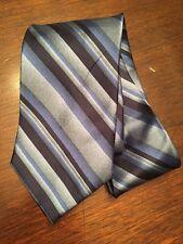 Stafford Silk Neck Tie Navy Blue Striped Wide Necktie NWOT