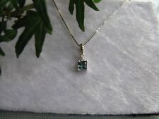 New 18K White Gold Pendant with Princess Cut Parti Colour Sapphire and Diamonds