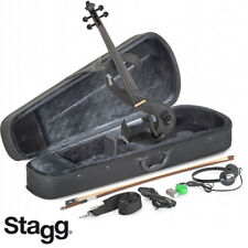 NEW Stagg EVN 4/4 S-Shaped Electric Violin Metallic Black + Case, Rosin, Bow,