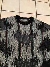Vtg 80s Mark Elliot Retro Hippie Rasta Jamaica Leather Trim Mosaic Art Sweater L