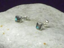 Square LABRADORITE   Sterling  Silver  925  Gemstone  Earrings / STUDS  -  4 mm