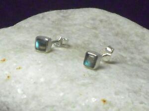 Fiery Square LABRADORITE  Sterling  Silver  925  Gemstone Stud Earrings - 4 mm