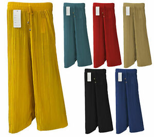 NEW LADIES FLARED PLEATED WIDE LEG PALAZZO  BAGGY  PANTS