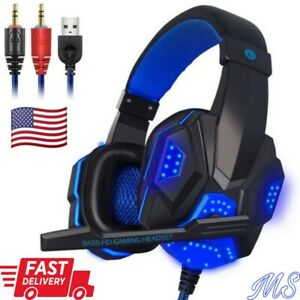 3.5mm Blue LED gaming Headphone Headsets Microphone For PC Laptop Stereo PS4 NEW