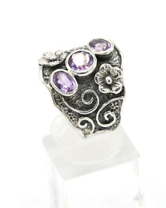 Sterling Silver Floral Detail Wide Band Ring with Three Faceted Amethyst, Size R