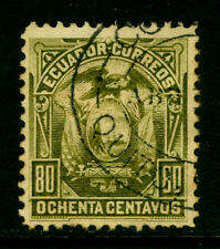 ECUADOR  1887 Coat of Arms  80c olive green  Scott # 22  used