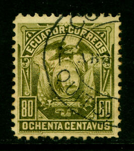 ECUADOR  1887 Coat of Arms  80c olive green  Scott # 22  used