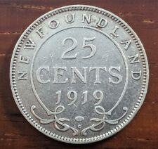1919 C Newfoundland Canada 25 Cent Silver Quarter Dollar Canadian Coin Lot D64