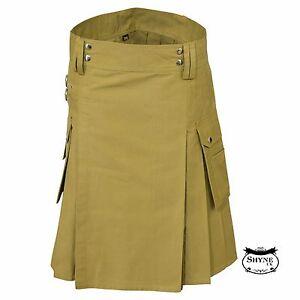 Khaki Men Fashion Sport Utility Kilt Deluxe Kilt Adjustable