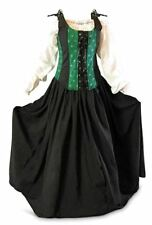 Renaissance 3 Piece Bodice Skirt Chemise Medieval Pirate Gown LARP Dress Green