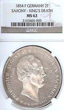 German States Saxony 1854 F Two Taler Coin NGC MS62 PRF/STG Thaler Deutschland