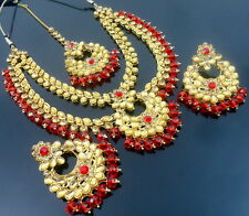 RED LCT  KUNDAN GOLD TONE NECKLACE SET BOLLYWOOD BRIDAL PARTY WEAR JEWELRY (277)