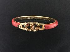 GUCCI Vintage Burnt Red Snakeskin 24k Yellow Gold Plated Bangle Bracelet ITALY
