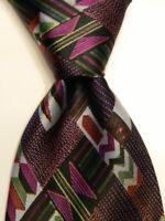 BRIONI Men's 100% Silk Necktie ITALY Luxury Designer Geometric Blue/Purple GUC