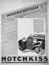 PUBLICITÉ DERNIÈRES NOUVELLES HOTCHKISS 11 CV PUISSANTES - DESSIN J.JACQUELIN