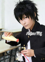 Hitman Reborn Xanxus Short Black Men Boy Cosplay Anime Hair Wig + Free Wig Cap