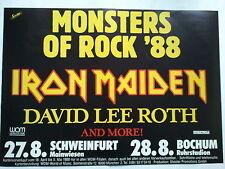 IRON MAIDEN  -  MONSTERS OF ROCK    1988   orig. CONCERT POSTER     84 x 60 cm