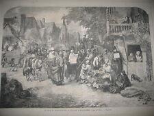 Gravure 1859 - Le Jour du marché village Angleterre