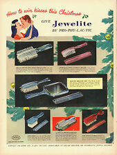 1947 vintage AD, Pro-Phy-Lac-Tic 'Jewelite' Hair Brush, Combs, Christmas -111413