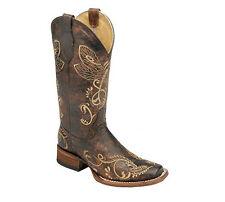 Corral Circle G Brown Dragonfly Embroidered Cowgirl Boot Square Toe - 8 M