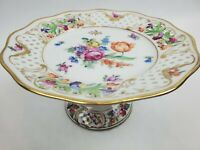 """Schumann Bavaria Footed Bowl """"Chateau Dresden"""" Round Compote Roses Gold Crown"""