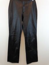 Identify Saks Fifth Avenue Women Sz 8 100% Leather Pants Made in Canada Black