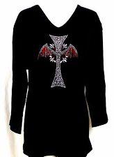 LARGE Embellished Rhinestone Halloween Gothic Bat Wings Cross 3/4 Sleeve Top